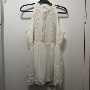 Eyelet white sleeveless blouse with crochet